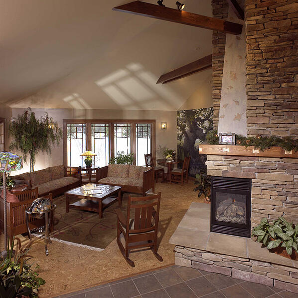 office waiting room with stone veneer fireplace
