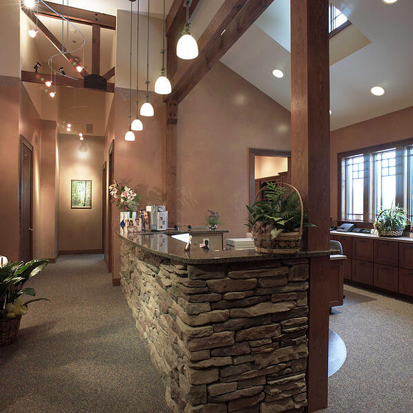 drystack stone veneer reception desk