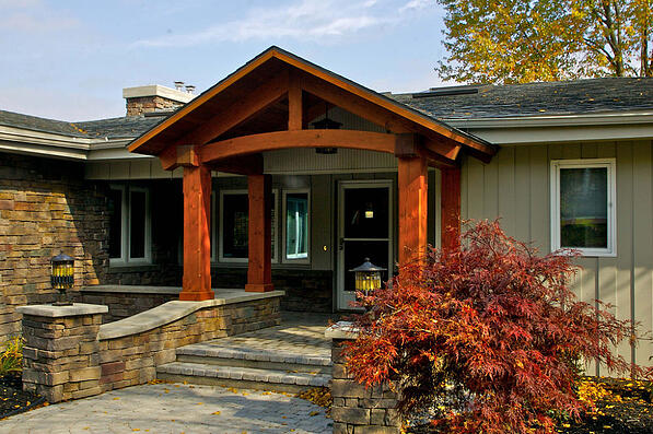 front porch with natural stone veneer