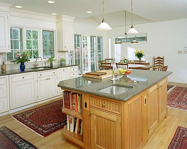 open kitchen with second sink on large island