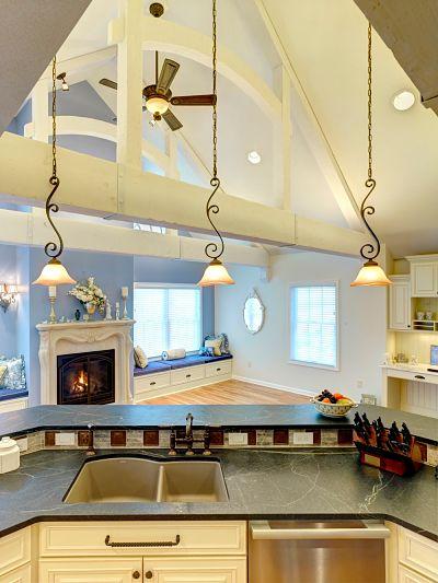 soapstone kitchen island with granite composite sink
