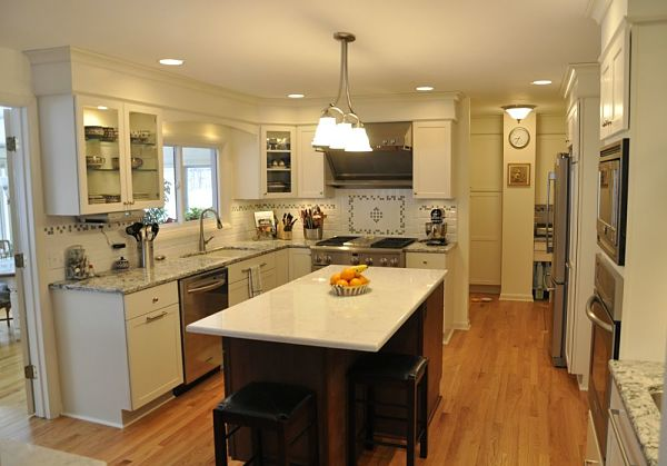 kitchen island with a quartz countertop
