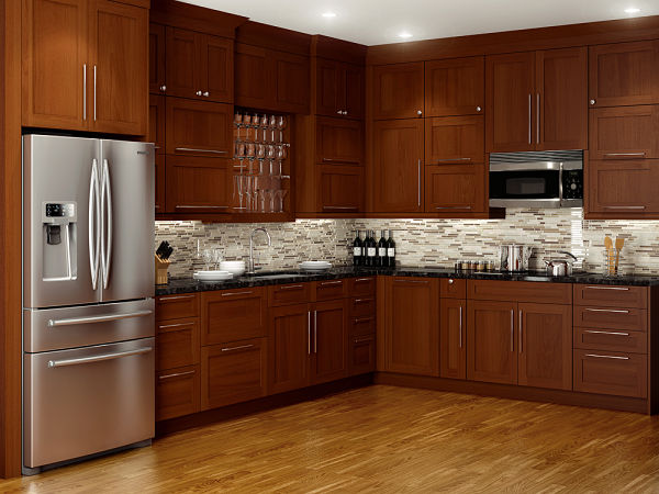 stained wood Shaker style kitchen cabinets