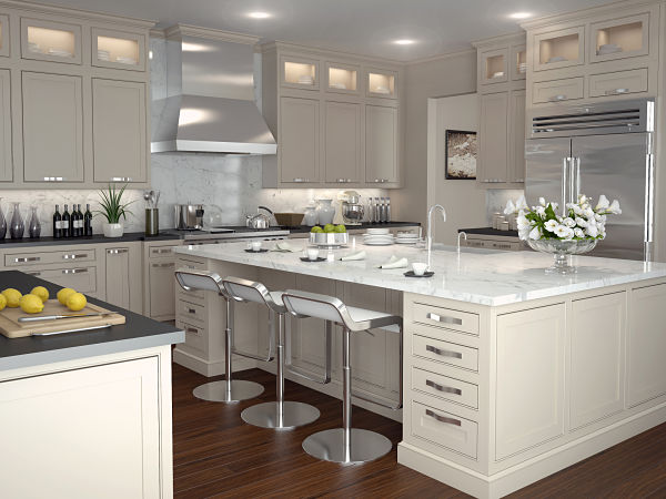 white painted cabinets in transitional kitchen