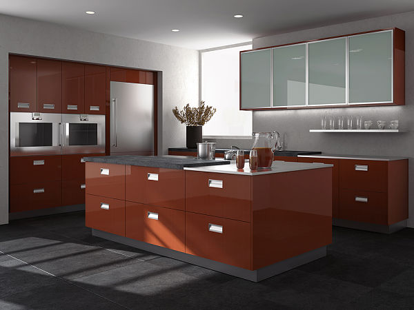 red acrylic kitchen cabinets