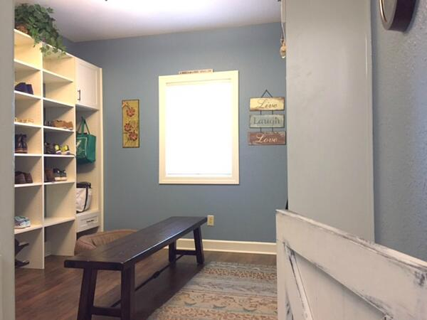 mudroom addition with bench