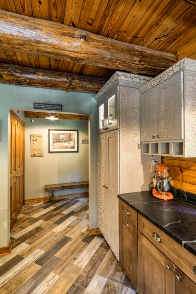 AFTER: log home kitchen entryway
