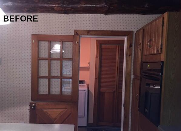 BEFORE: log home kitchen entryway