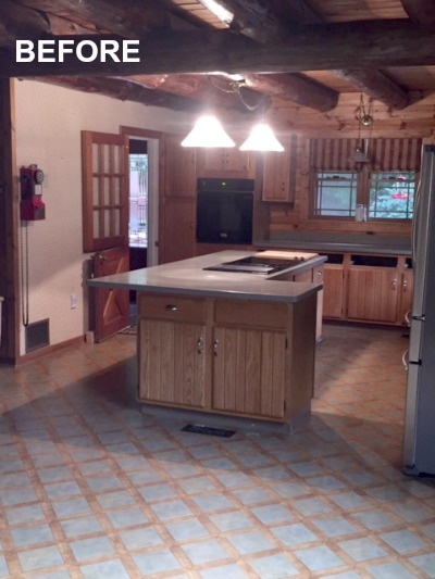 BEFORE: log home kitchen
