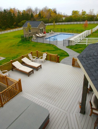composite deck with hot tub