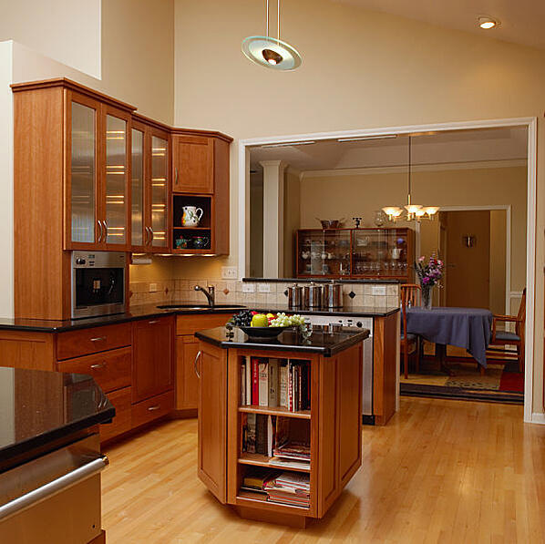 Contemporary Kitchen with Visible Storage and Cathedral Ceiling