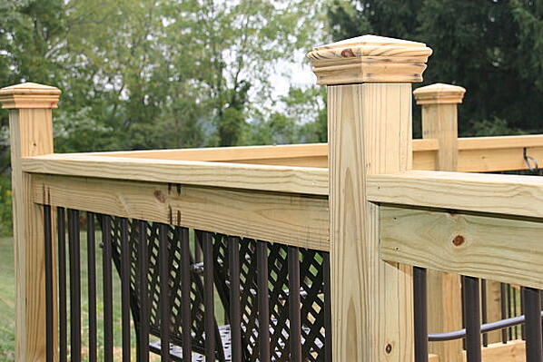 pressure treated deck posts and rails