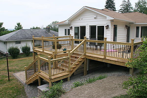 elevated deck and home addition