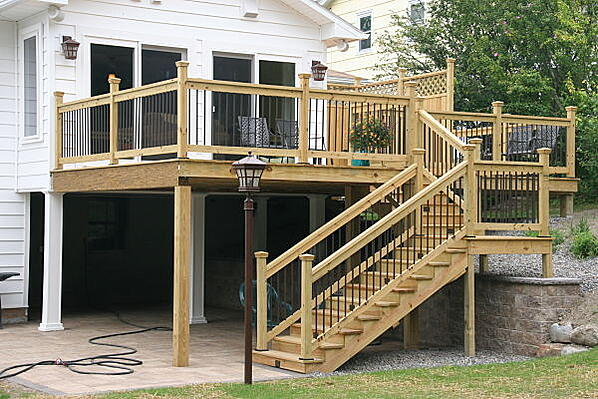 elevated deck and patio
