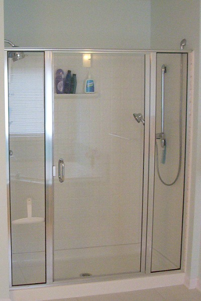 framed shower door with clear glass