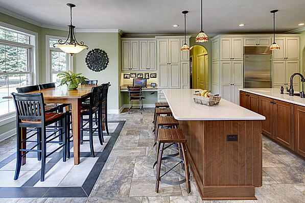 Kitchen with Chandelier and Pendant Light Fixtures