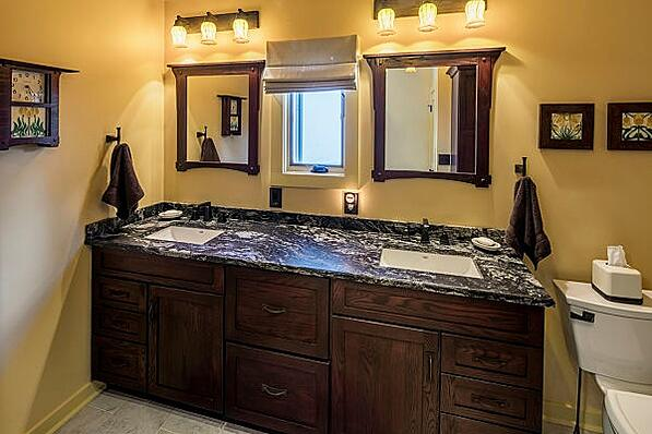 master bath mission oak cabinets