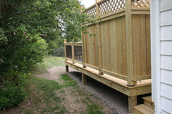 pressure treated deck with privacy screen