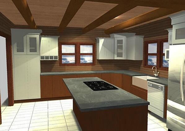 rustic kitchen perspective drawing