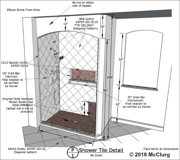 Walk-in Shower and Niche Drawing