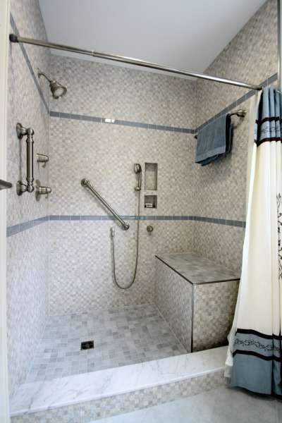 Walk-in Shower with Custom Tile Base