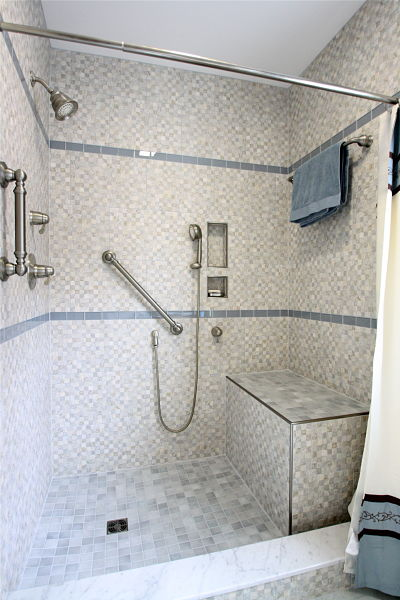 Cheap Walkin Shower With Grab Bars And Bench Seat With Shower Glass Support  Bars
