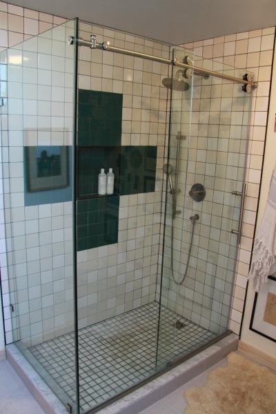 walkin shower with sliding glass door