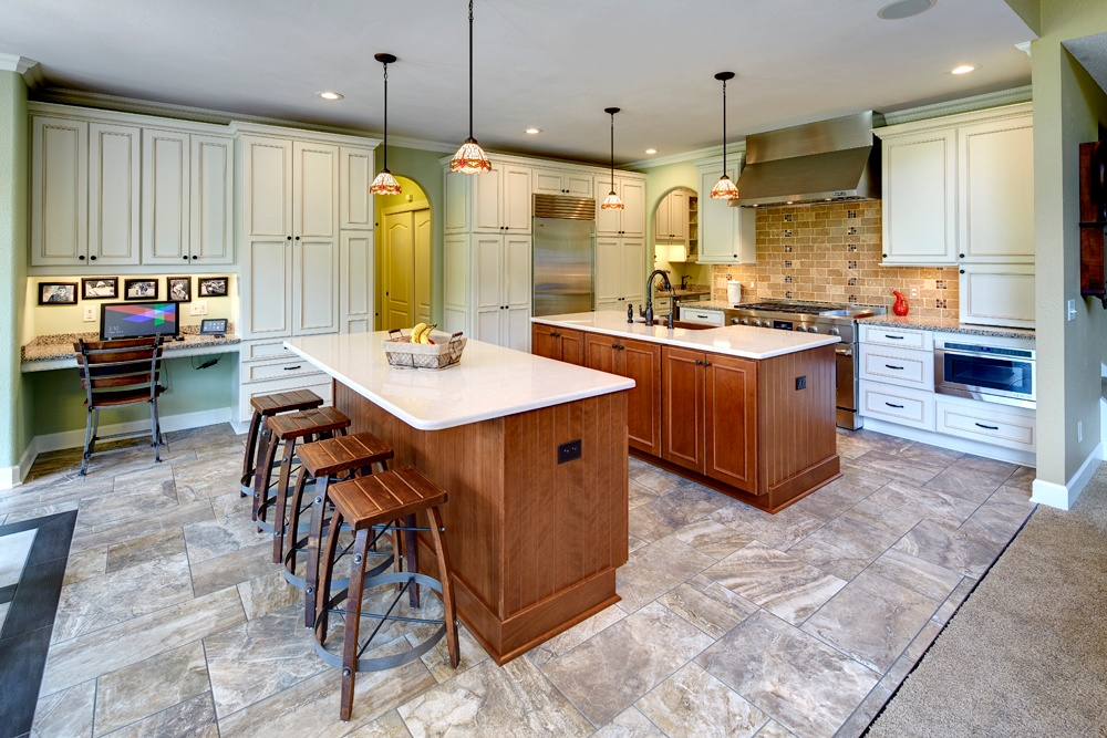 This Remodeled Kitchen Features Two Islands A Home Office A Beverage Area And New