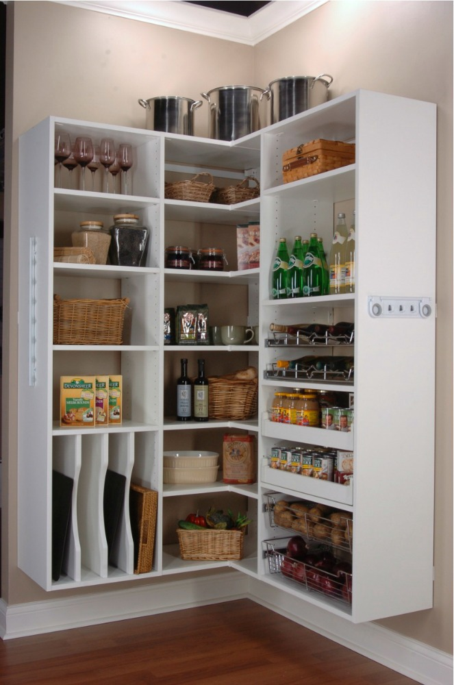 White open shelf pantry storage.