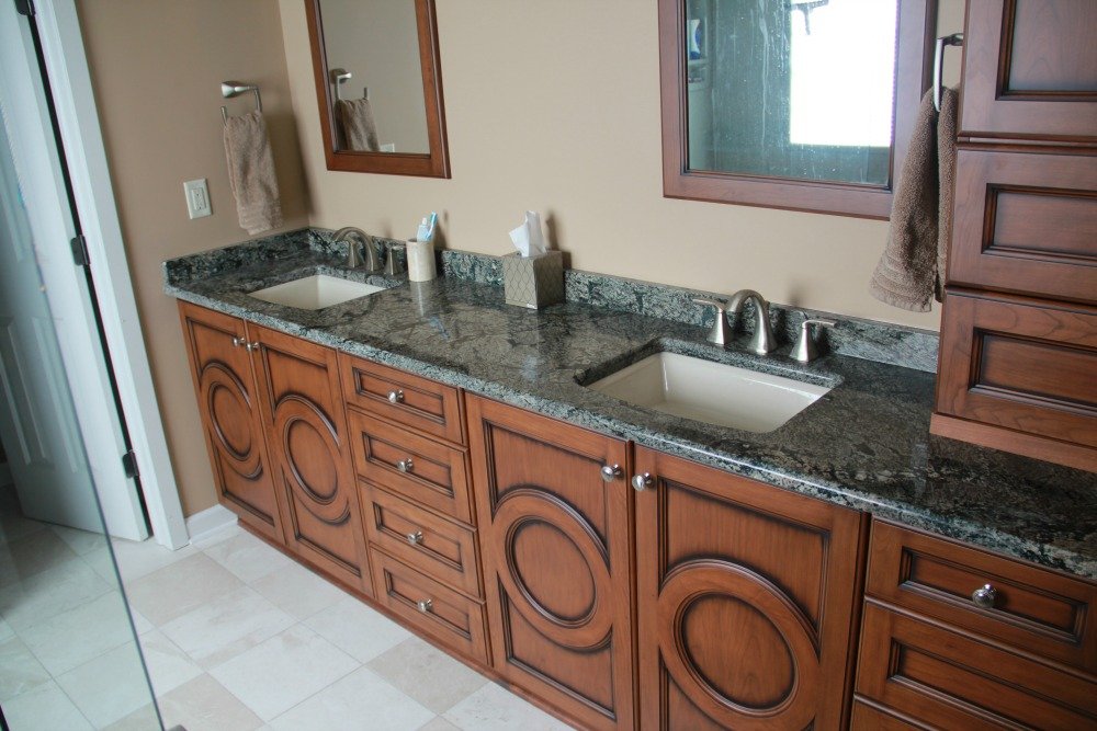 This 10 Foot Vanity Has Undermount Basin Sinks, A Spectacular Granite  Countertop, A