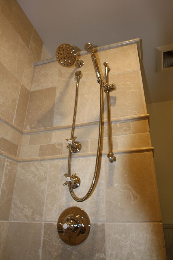 Handheld and rainfall showerheads were special ordered for the shower.