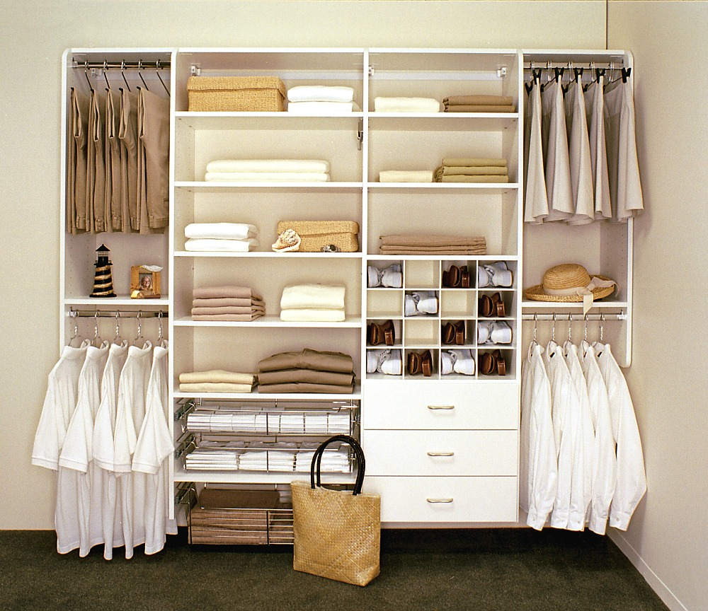This Closet Storage System Features Shelves Rods Drawers And Shoe Compartment