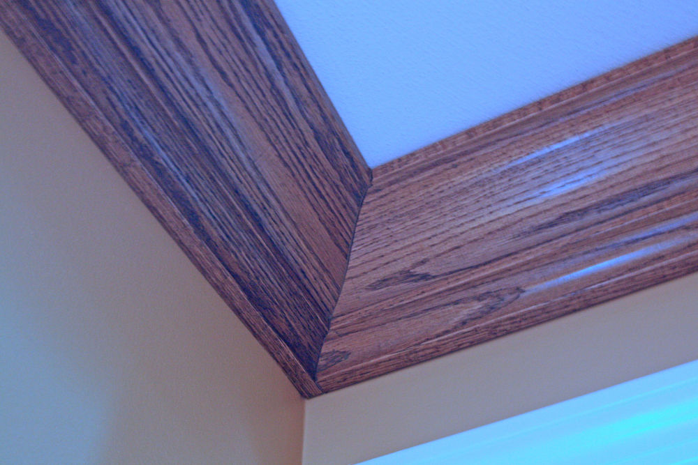 Oak trim was carefully crafted for the crown molding.