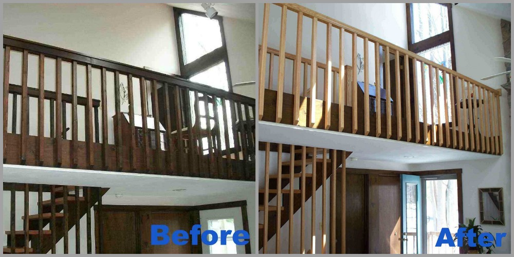 BEFORE - The dark stained pine railing in this home ran from the basement to the second story of the house. AFTER - Oak handrail, spindles and treads were installed to update and brighten up the overall look of the stair system, which stems from the basement to the second story of the home.