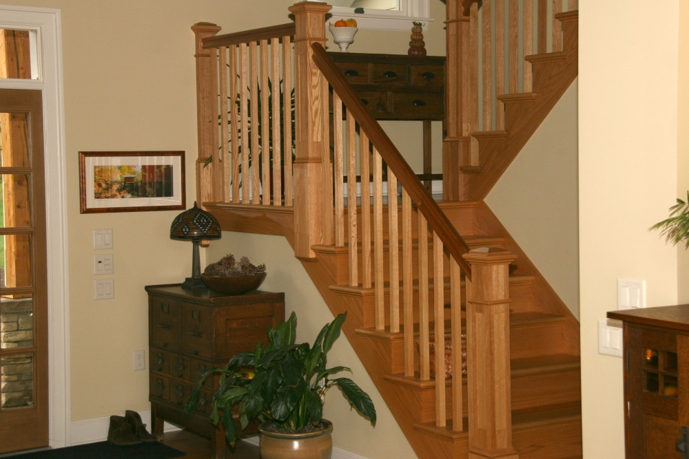 Staircase With Custom Cherry Rails And Spindles.