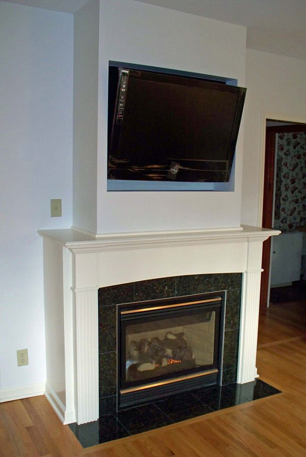 The addition of this built-in TV and gas fireplace allow this the seating in this room to be focused on one wall.