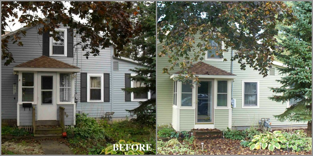 BEFORE - The original siding on this cottage was wood clapboard and the majority of the windows were double hung operated by sash weights within the walls. AFTER - The siding on the entire cottage was replaced with fiber cement clapboard made by James Hardie. It was ordered pre-finished so painting was not necessary.