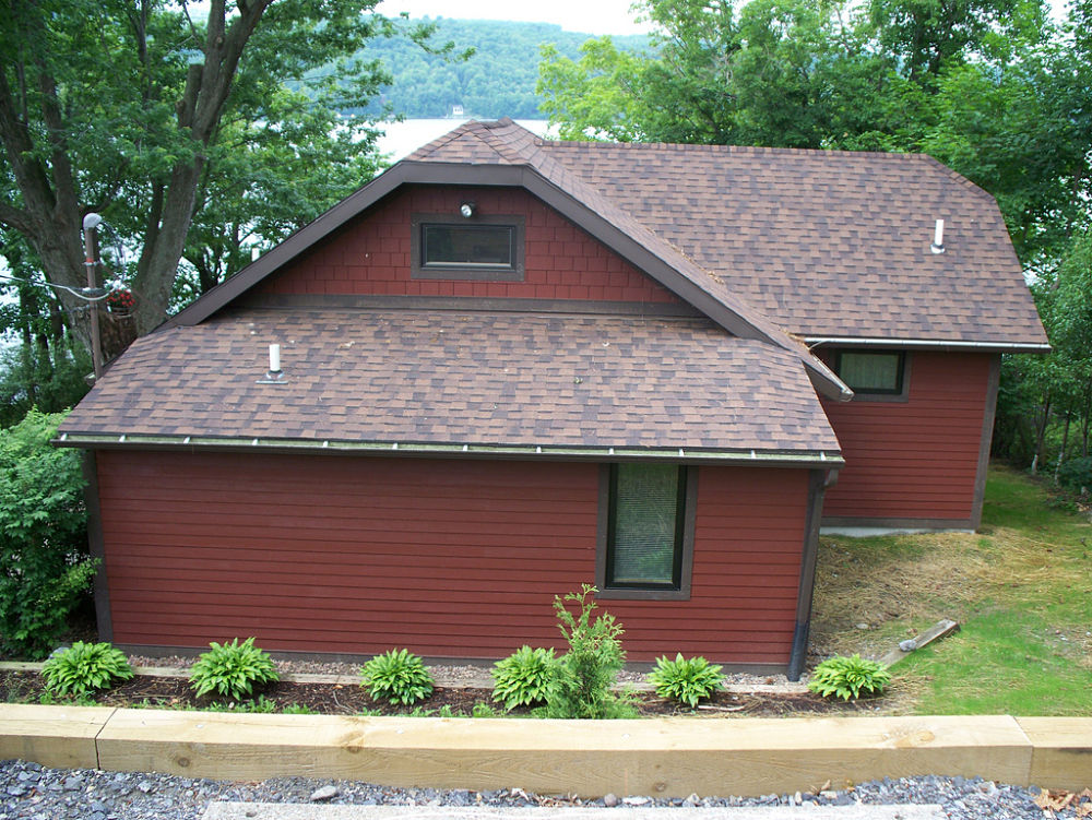 The new cement clapboard and composite trims gave this home a complete exterior makeover.