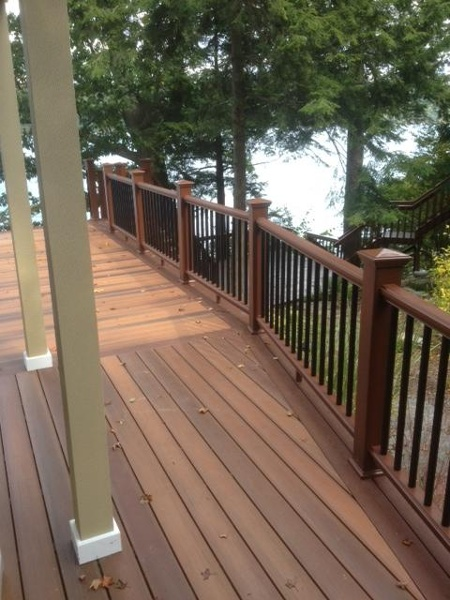 DuraLife composite deck and railing system with pyramid caps.