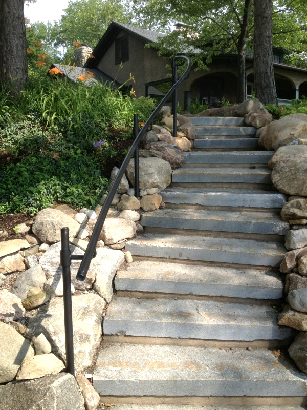 Rocks and boulders were used as borders for this stone staircase and to define the landscape.