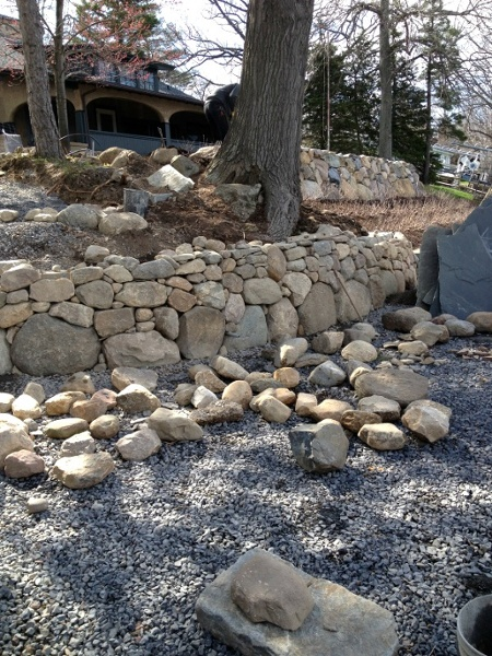 Large stones were used to create these landscape retaining walls.