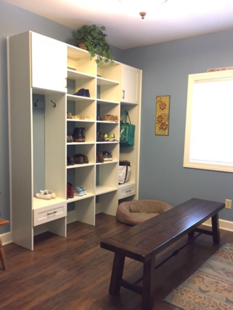 This mudroom addition provides organized storage for personal items.